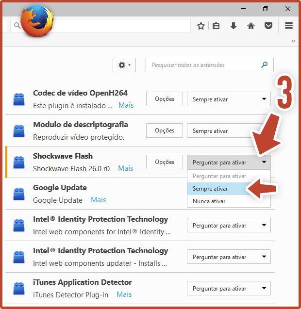 Ativar o Flash Player no Firefox Passo 2